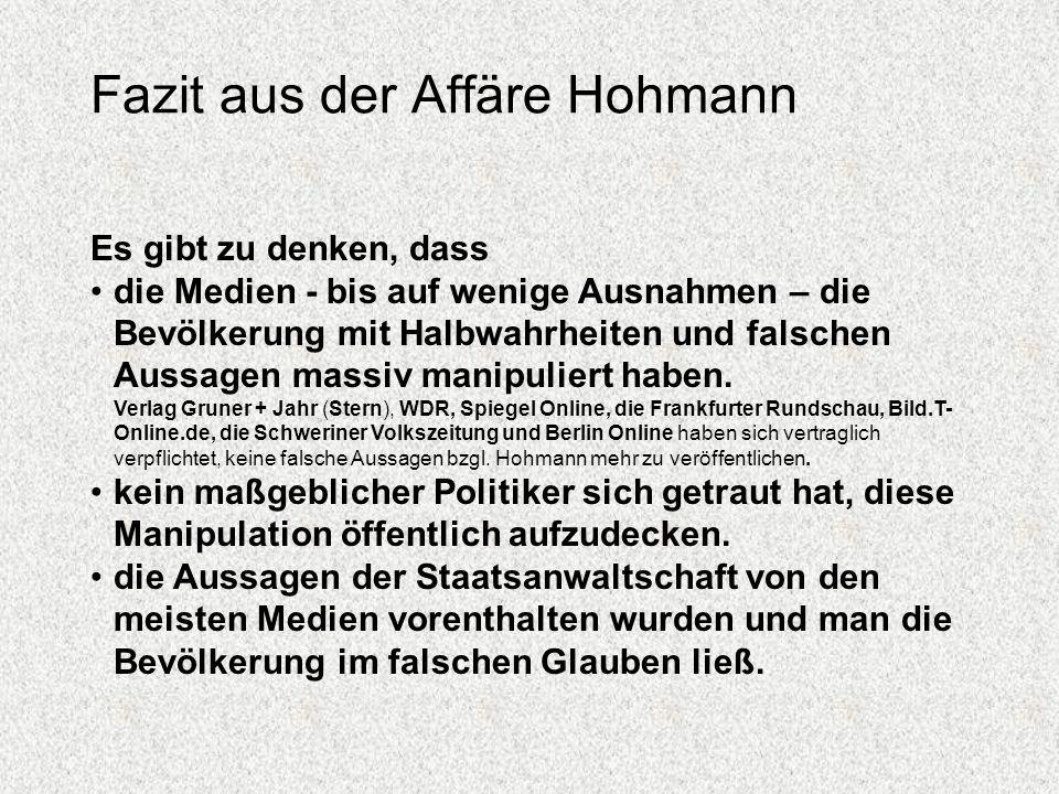 Fazit aus der Affäre Hohmann
