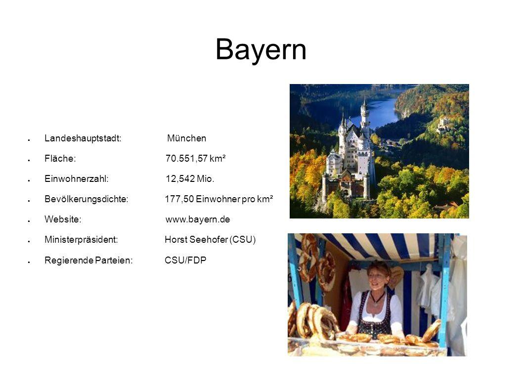 Bayern Landeshauptstadt: München Fläche: 70.551,57 km²