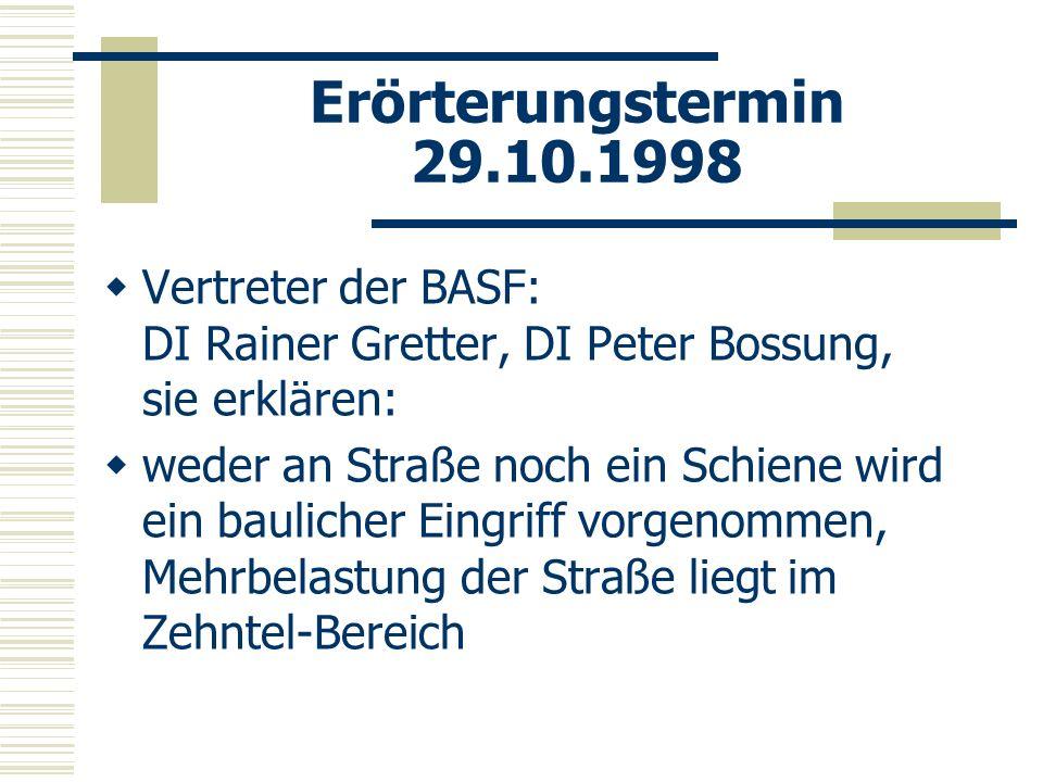 Erörterungstermin 29.10.1998 Vertreter der BASF: DI Rainer Gretter, DI Peter Bossung, sie erklären: