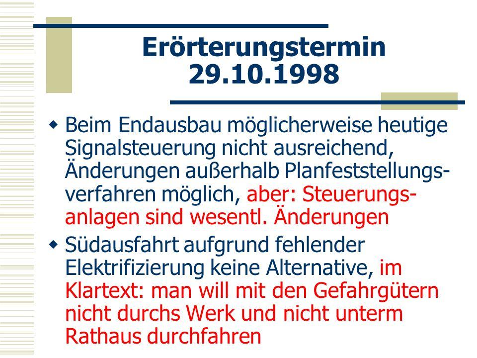 Erörterungstermin 29.10.1998