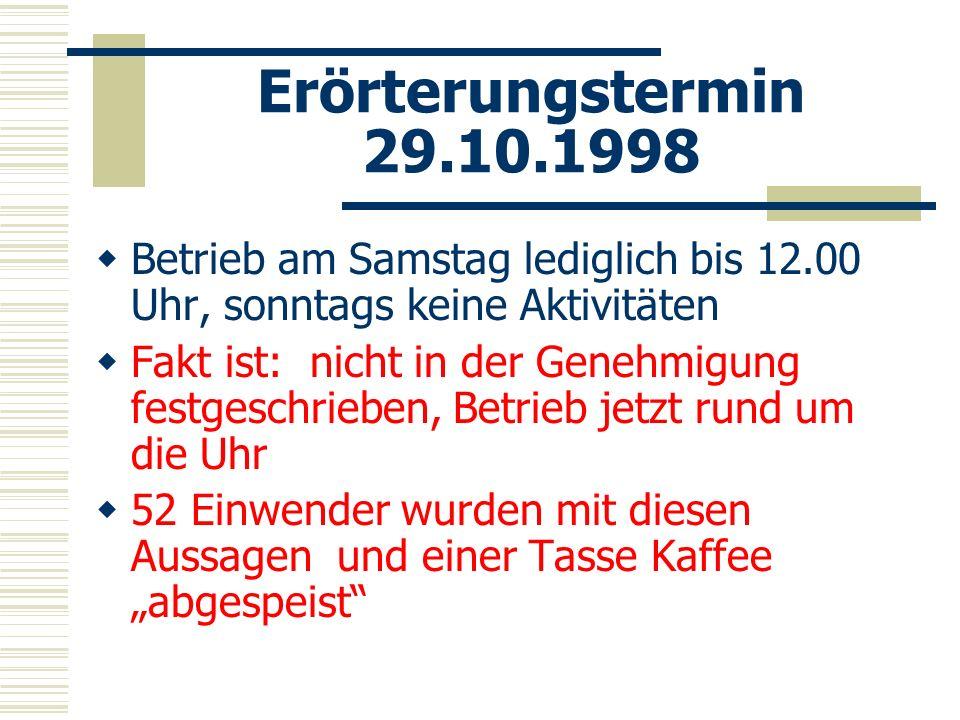 Erörterungstermin 29.10.1998 Betrieb am Samstag lediglich bis 12.00 Uhr, sonntags keine Aktivitäten.