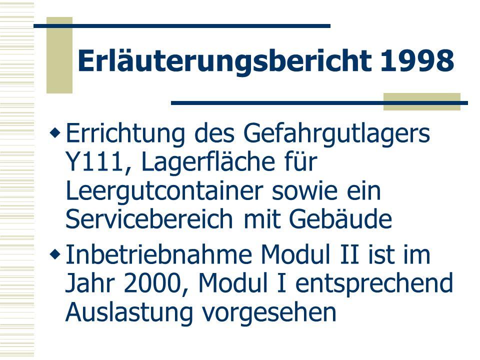 Erläuterungsbericht 1998 Errichtung des Gefahrgutlagers Y111, Lagerfläche für Leergutcontainer sowie ein Servicebereich mit Gebäude.