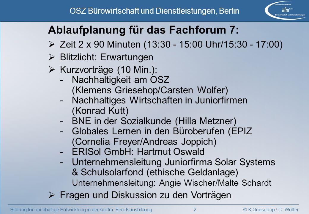 Ablaufplanung für das Fachforum 7: