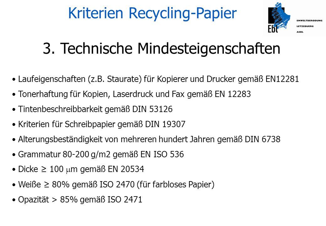 Kriterien Recycling-Papier