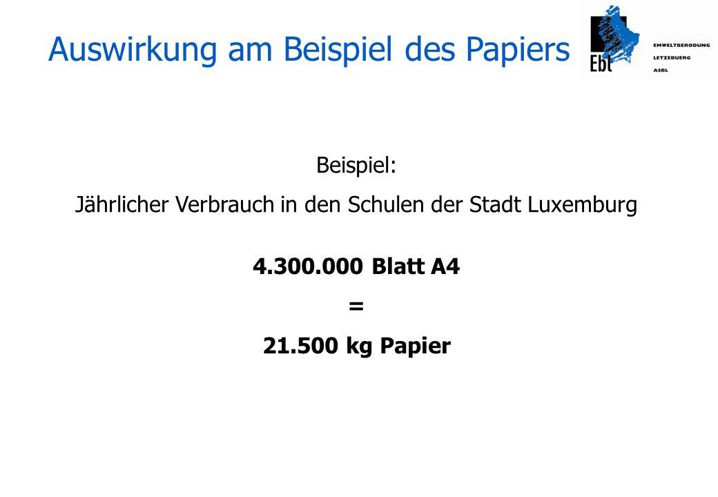 Auswirkung am Beispiel des Papiers