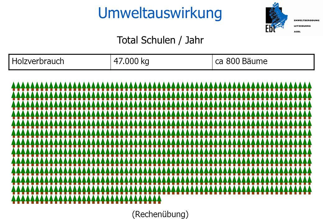 Umweltauswirkung Total Schulen / Jahr Holzverbrauch 47.000 kg