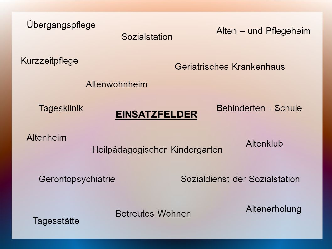 EINSATZFELDER Übergangspflege Alten – und Pflegeheim Sozialstation