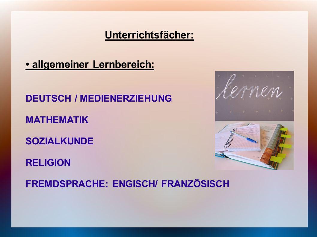 • allgemeiner Lernbereich: