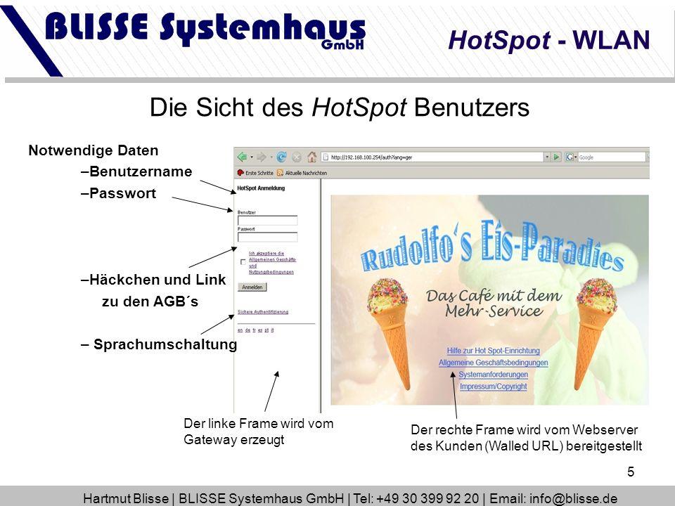 Die Sicht des HotSpot Benutzers