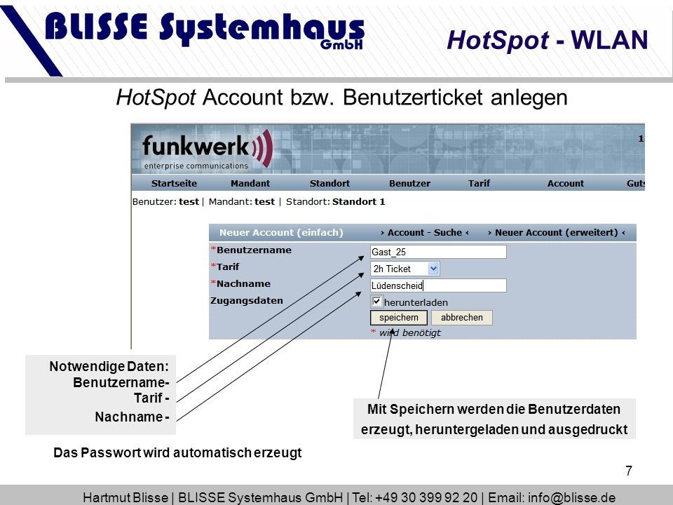 HotSpot Account bzw. Benutzerticket anlegen