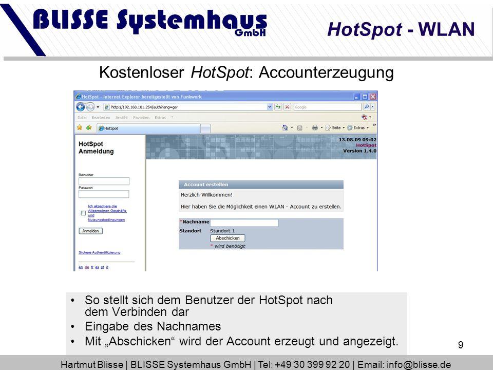 Kostenloser HotSpot: Accounterzeugung