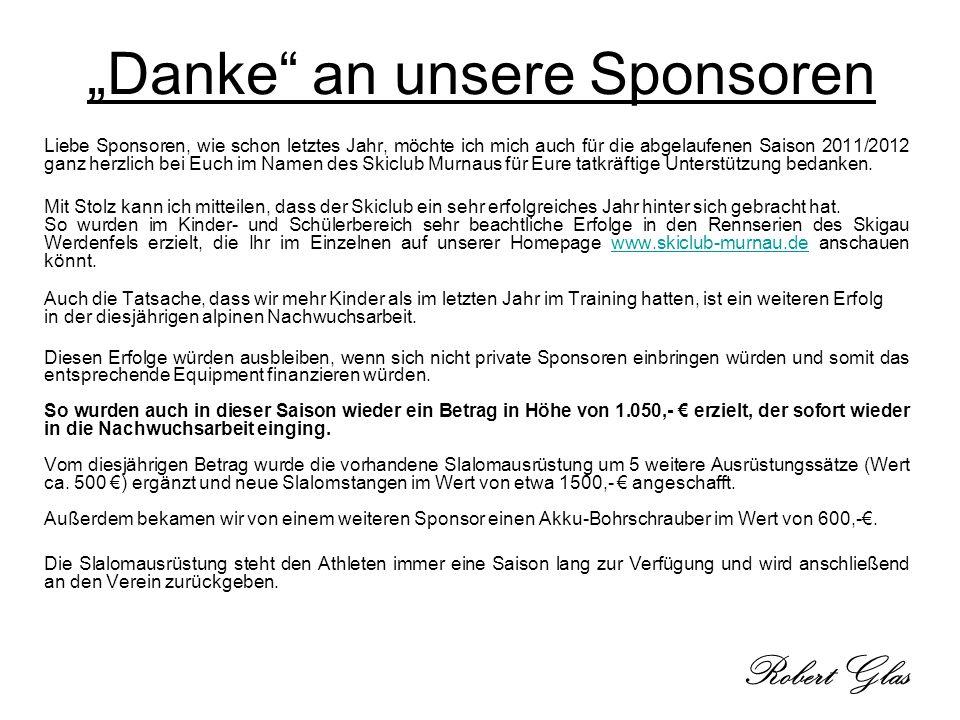 """Danke an unsere Sponsoren"