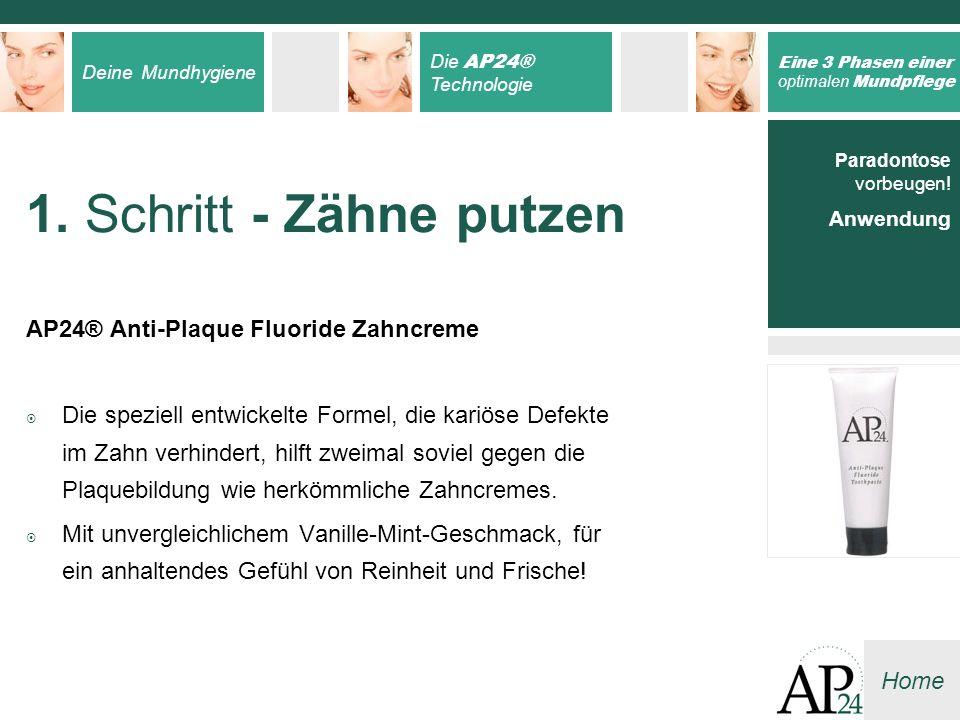 1. Schritt - Zähne putzen AP24® Anti-Plaque Fluoride Zahncreme