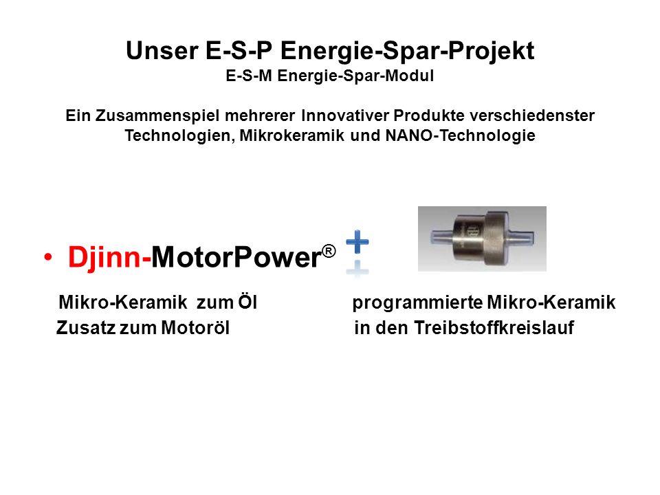 Unser E-S-P Energie-Spar-Projekt E-S-M Energie-Spar-Modul