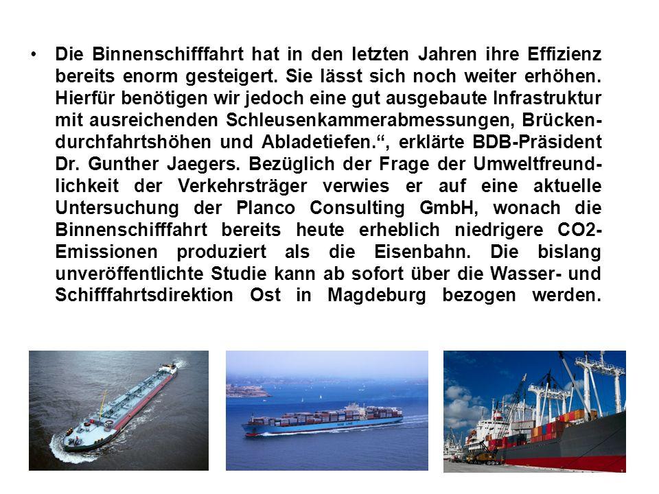 Die Binnenschifffahrt hat in den letzten Jahren ihre Effizienz bereits enorm gesteigert.