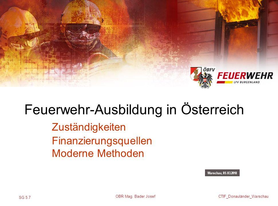 Feuerwehr-Ausbildung in Österreich. Zuständigkeiten