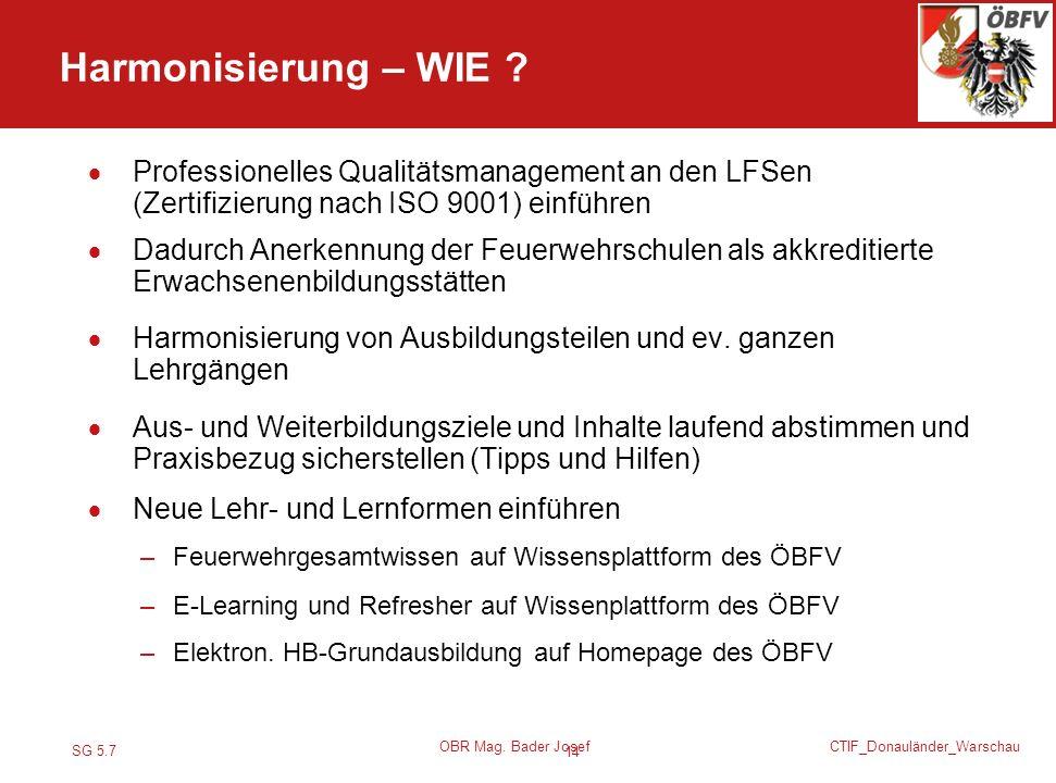 Harmonisierung – WIE Professionelles Qualitätsmanagement an den LFSen (Zertifizierung nach ISO 9001) einführen.