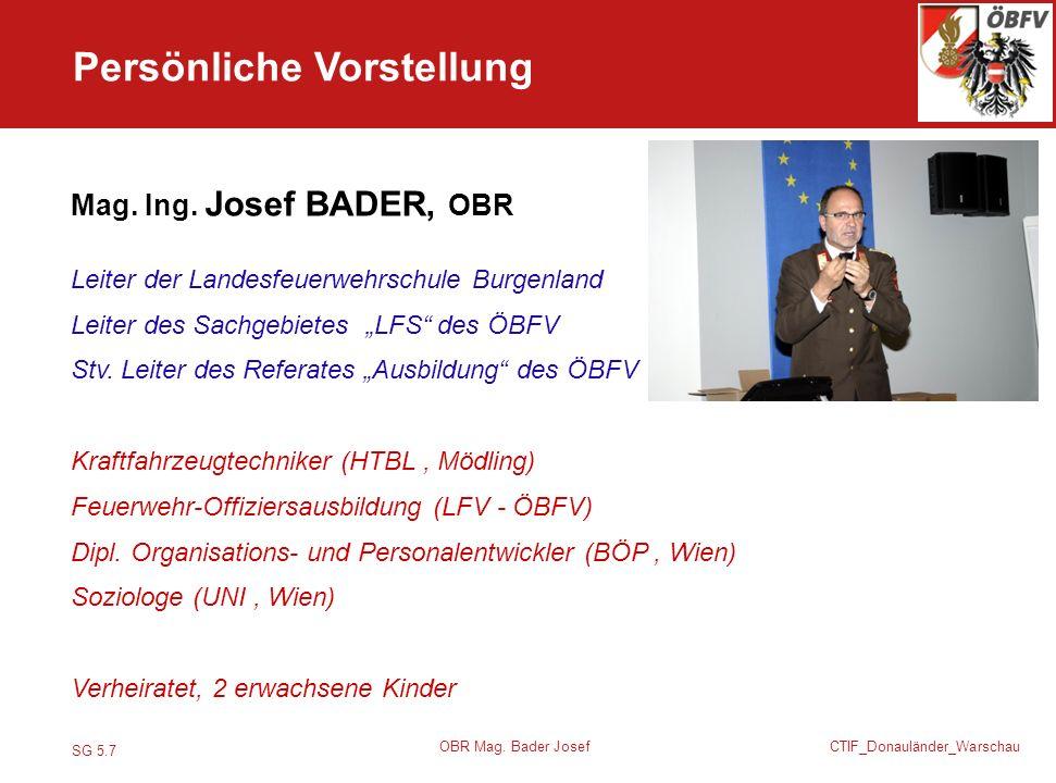 Profil Persönliche Vorstellung Mag. Ing. Josef BADER, OBR