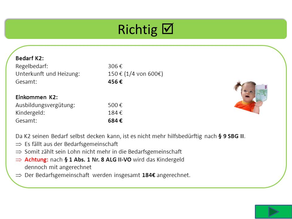 Richtig  Bedarf K2: Regelbedarf: 306 €