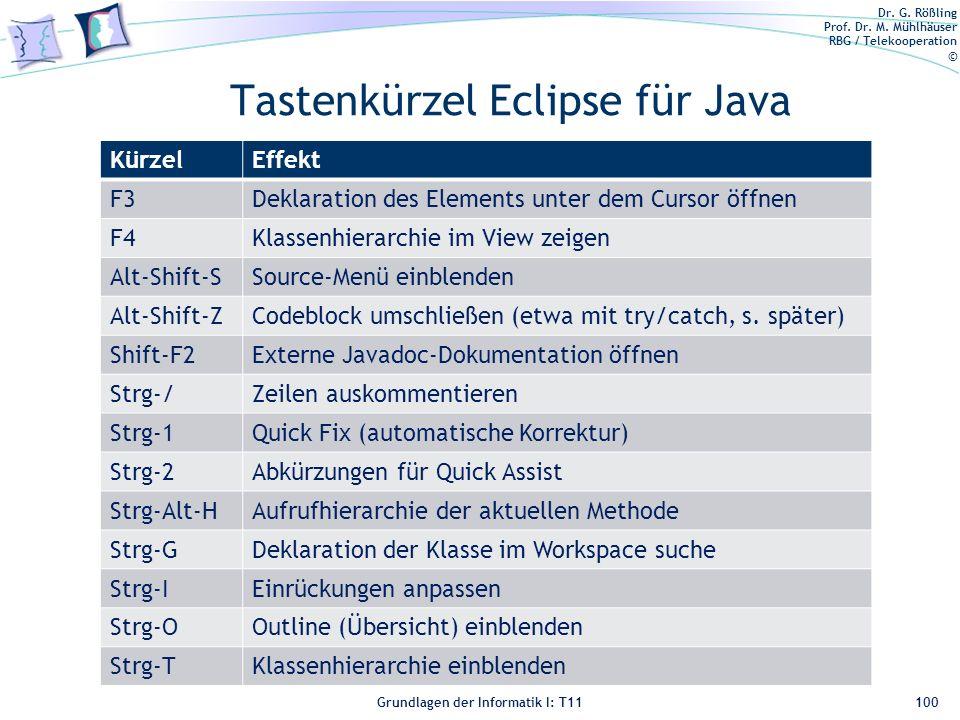 Tastenkürzel Eclipse für Java