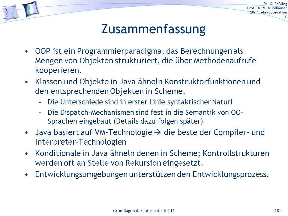 Zusammenfassung OOP ist ein Programmierparadigma, das Berechnungen als Mengen von Objekten strukturiert, die über Methodenaufrufe kooperieren.