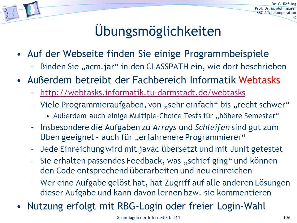 """Übungsmöglichkeiten Auf der Webseite finden Sie einige Programmbeispiele. Binden Sie """"acm.jar in den CLASSPATH ein, wie dort beschrieben."""
