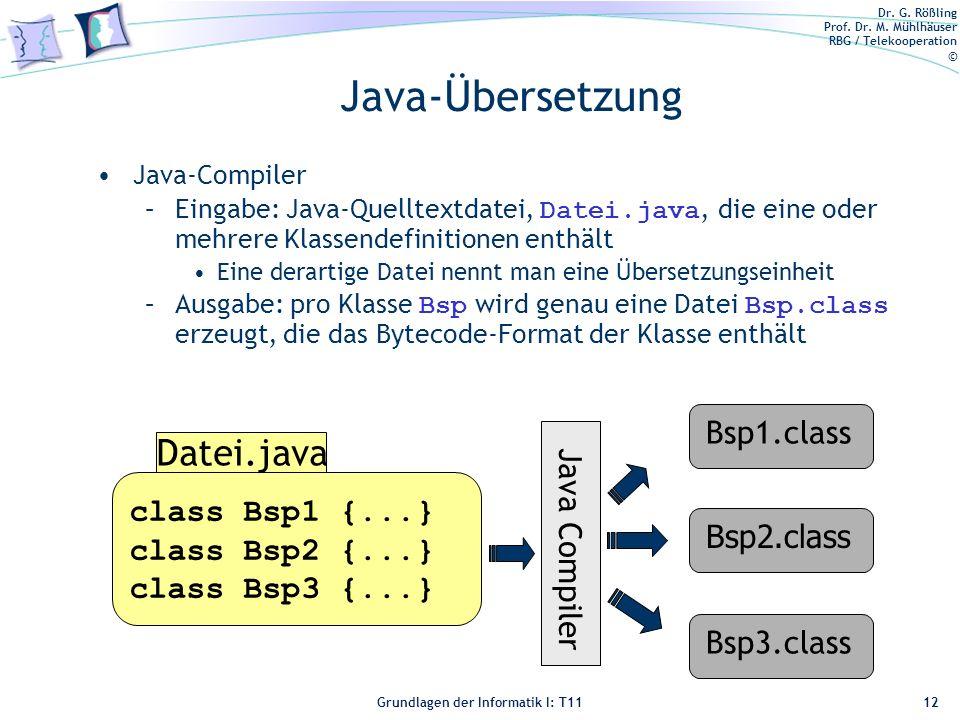 Java-Übersetzung Datei.java Bsp1.class class Bsp1 {...} Java Compiler