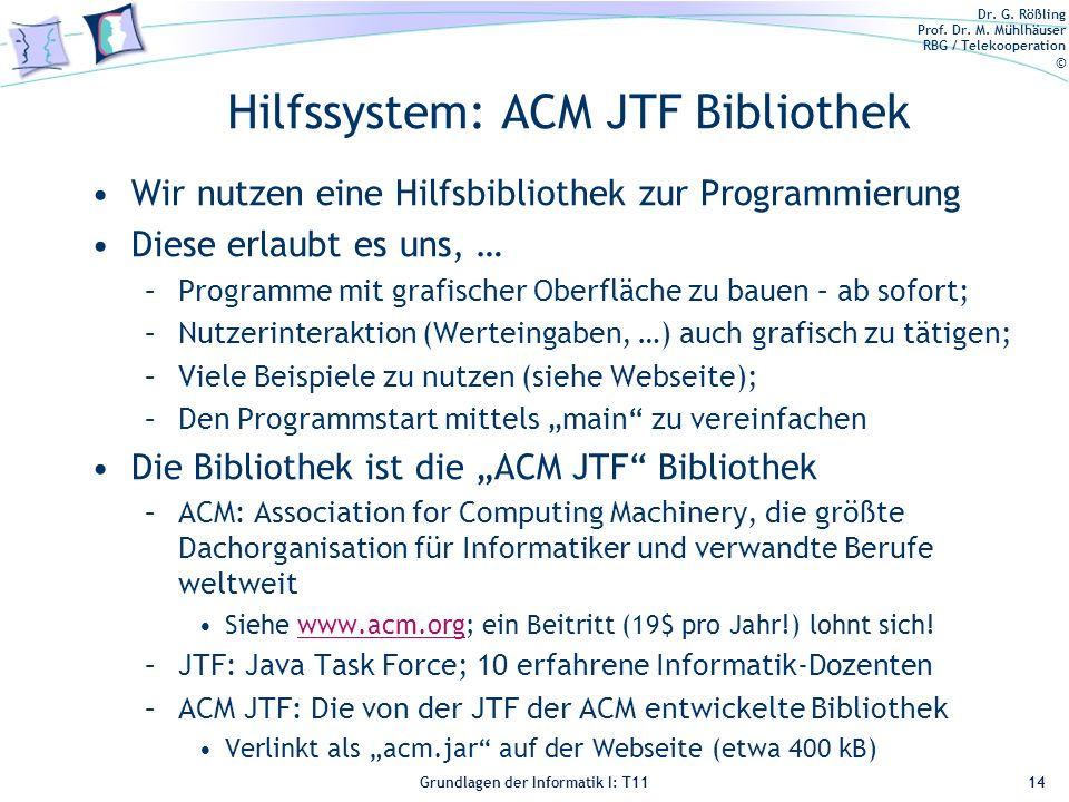 Hilfssystem: ACM JTF Bibliothek