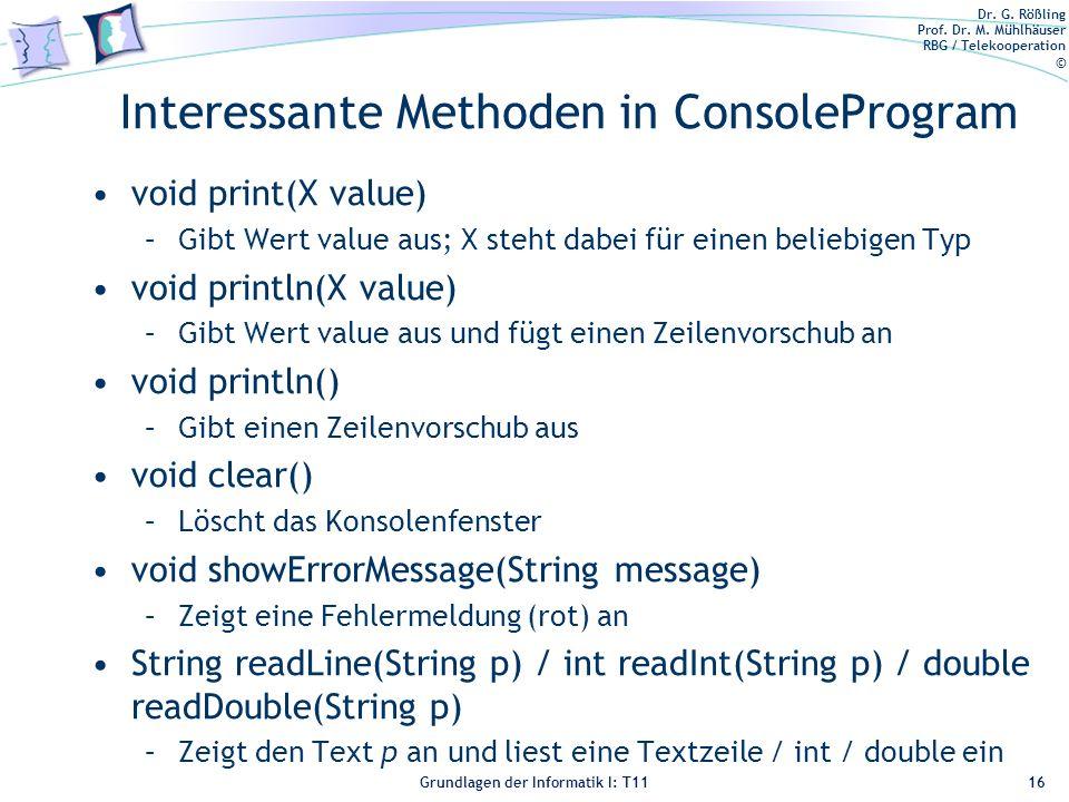 Interessante Methoden in ConsoleProgram