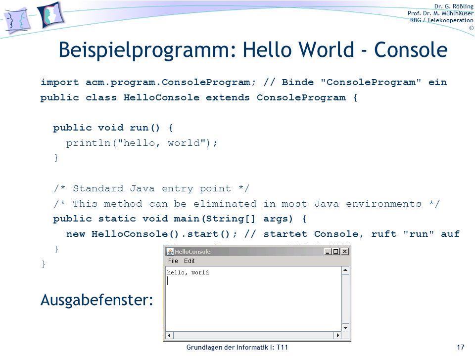 Beispielprogramm: Hello World - Console