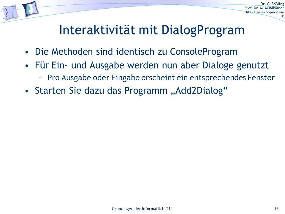 Interaktivität mit DialogProgram