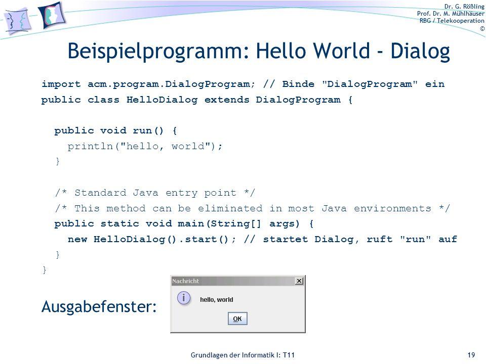 Beispielprogramm: Hello World - Dialog