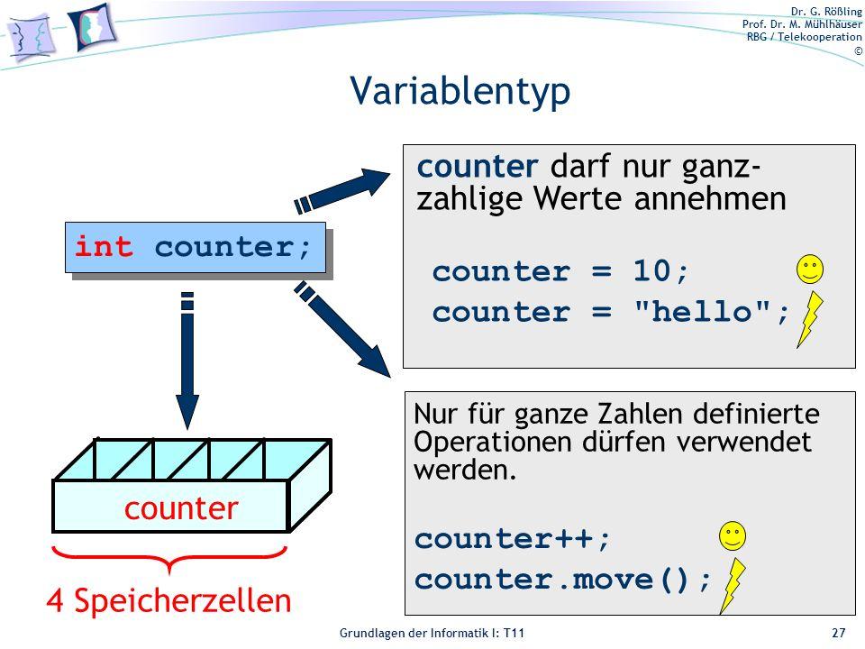 Variablentyp counter darf nur ganz-zahlige Werte annehmen int counter;
