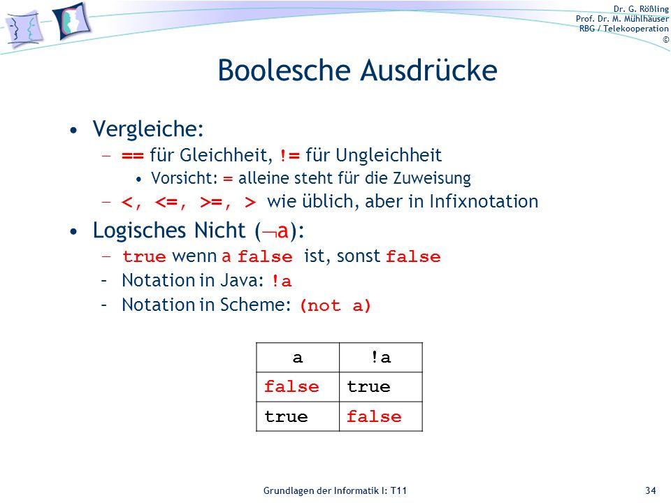Boolesche Ausdrücke Vergleiche: Logisches Nicht (a):