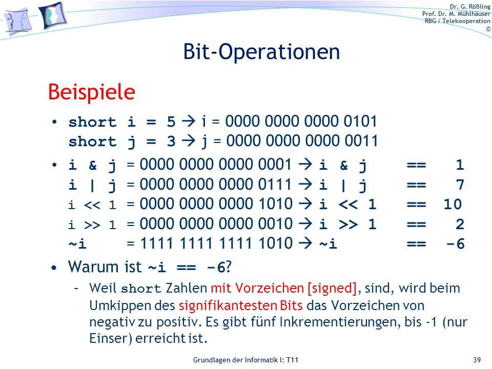 Bit-Operationen Beispiele