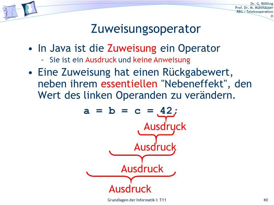 Zuweisungsoperator In Java ist die Zuweisung ein Operator