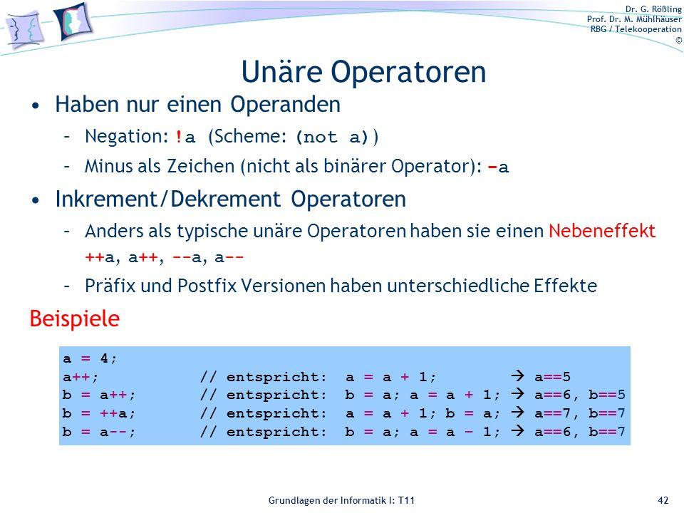 Unäre Operatoren Haben nur einen Operanden