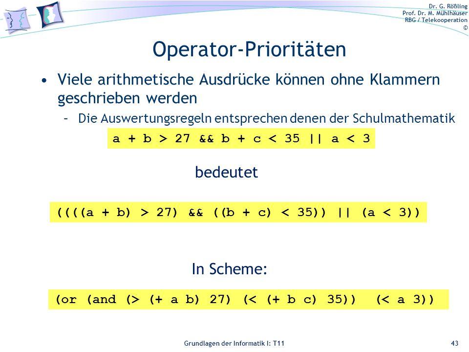 Operator-Prioritäten