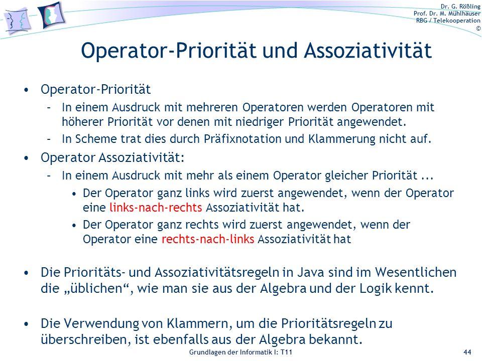 Operator-Priorität und Assoziativität