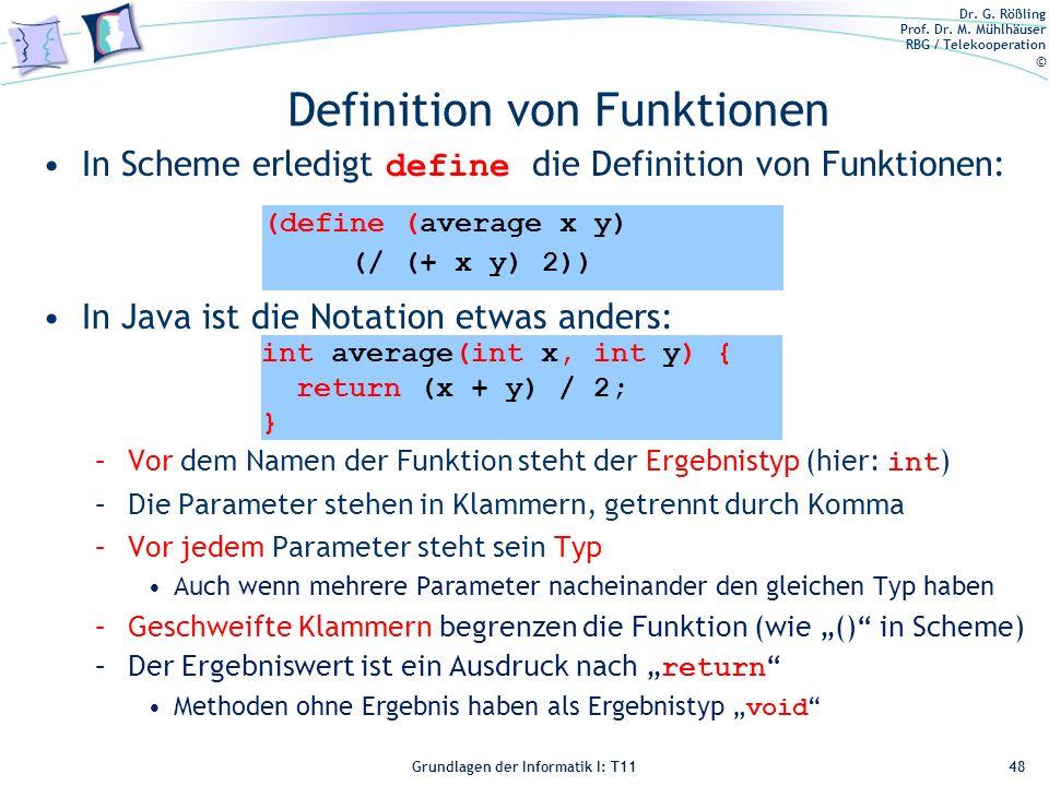 Definition von Funktionen