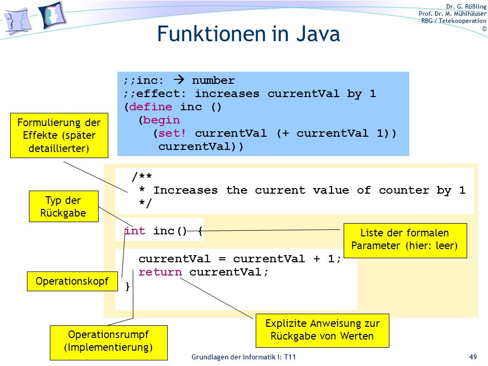 Funktionen in Java ;;inc:  number ;;effect: increases currentVal by 1
