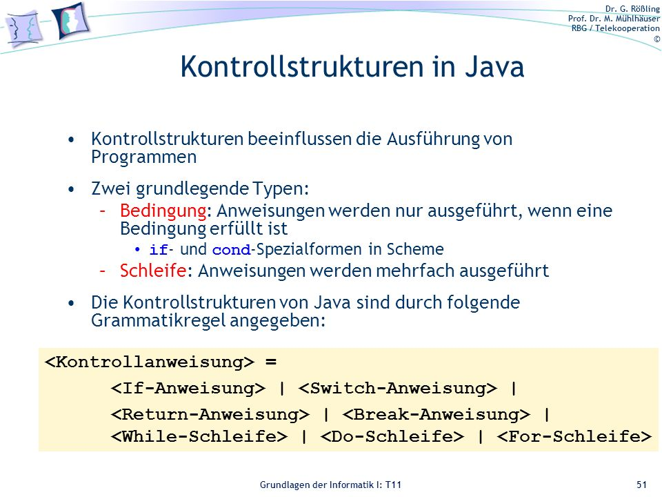Kontrollstrukturen in Java