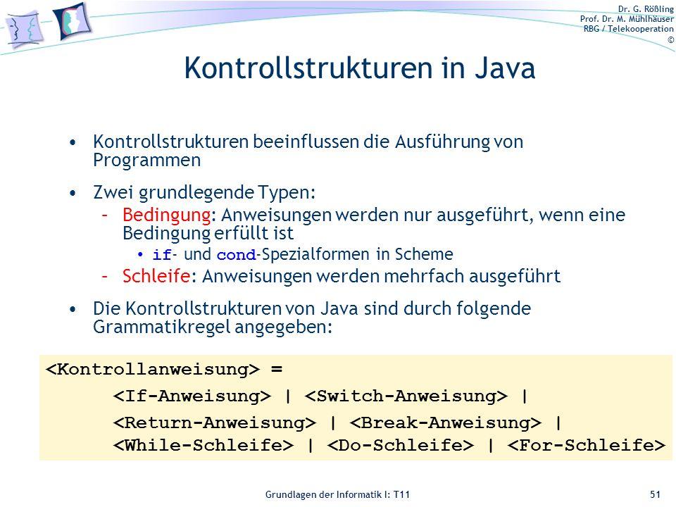 Kontrollstrukturen in Java