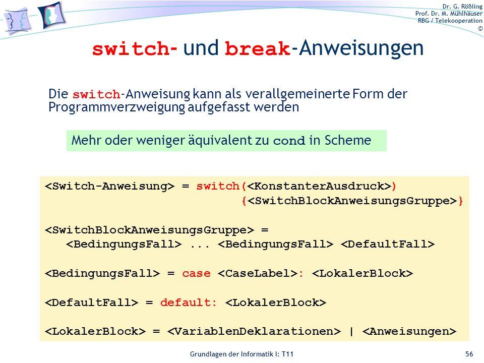 switch- und break-Anweisungen