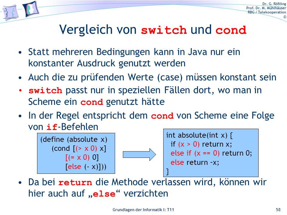 Vergleich von switch und cond