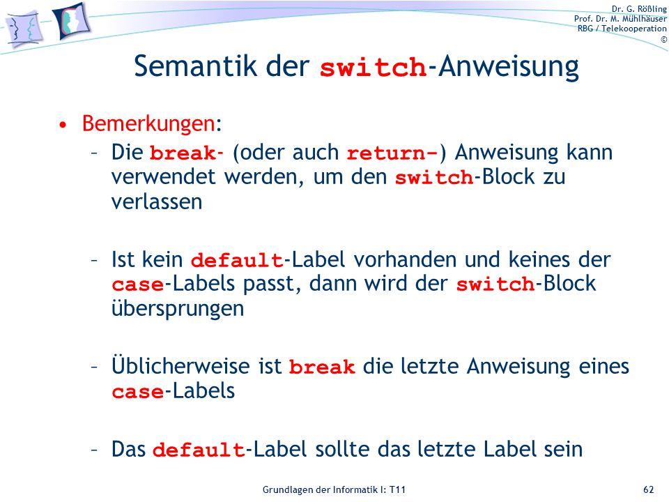 Semantik der switch-Anweisung