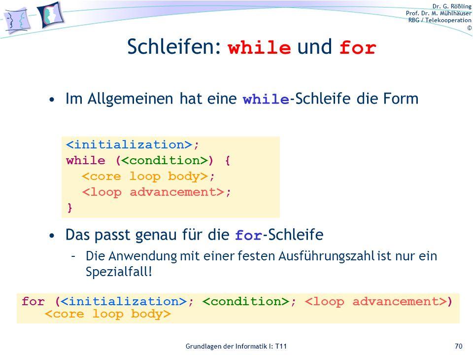 Schleifen: while und for