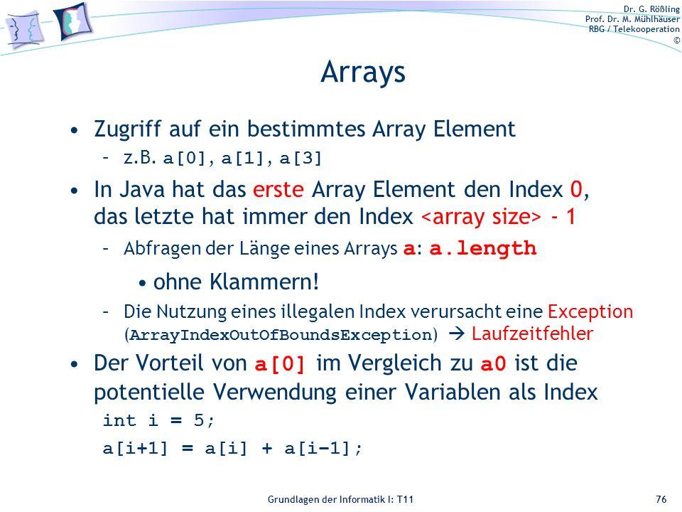 Arrays Zugriff auf ein bestimmtes Array Element