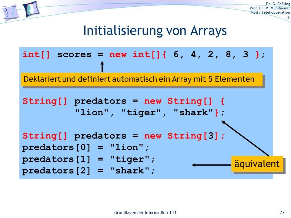 Initialisierung von Arrays