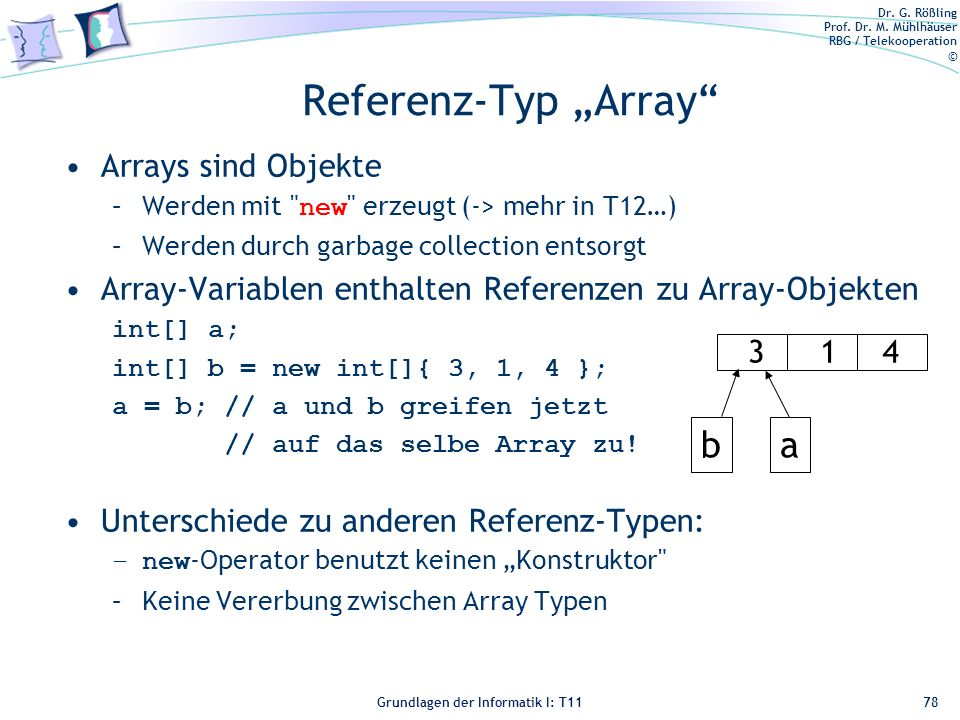 "Referenz-Typ ""Array b a Arrays sind Objekte"